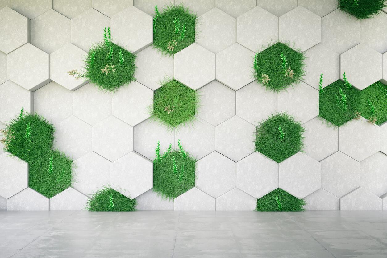 Decoración vertical con césped artificial