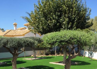 Césped artificial en jardín particular de Murcia junto a vegetación natural