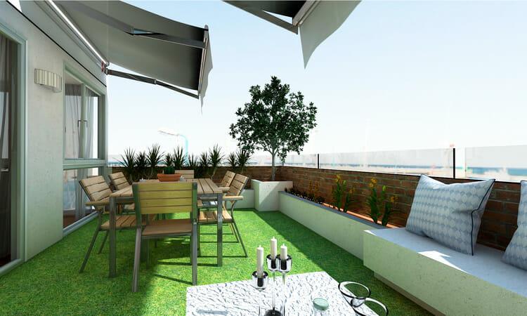 Relva artificial mobiliário en terraço